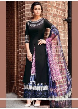 Print Work Black Cotton Satin Designer Palazzo Suit