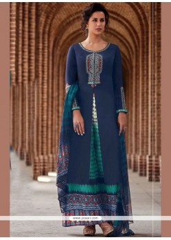 Cotton Satin Print Work Designer Palazzo Suit