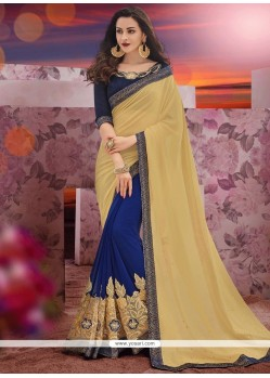 Embroidered Faux Chiffon Half N Half Saree In Beige And Blue