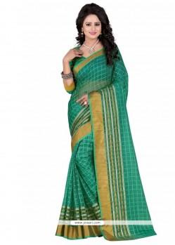 Green Lace Work Casual Saree