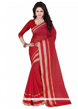 Red Lace Work Cotton Silk Casual Saree