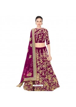 Maroon Embroidered Velvet Lehenga Choli