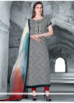 Faux Crepe Multi Colour Designer Straight Suit