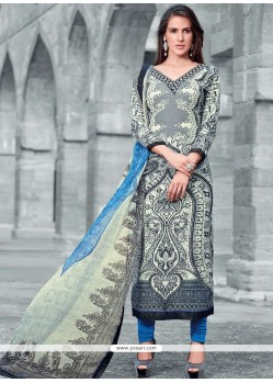 Print Work Faux Crepe Multi Colour Designer Straight Suit