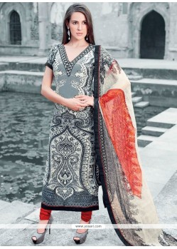 Faux Crepe Multi Colour Print Work Designer Straight Suit