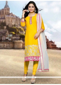 Yellow Embroidered Work Churidar Designer Suit