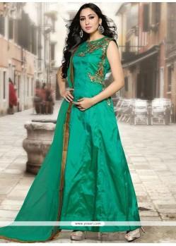 Tafeta Silk Sea Green Floor Length Anarkali Suit