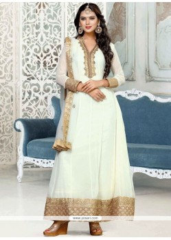 Embroidered Faux Georgette Anarkali Suit In White
