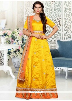 Mustard Floor Length Anarkali Suit
