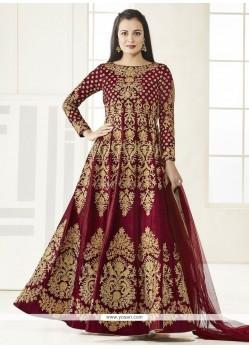 Diya Mirza Crimson Floor Length Anarkali Suit