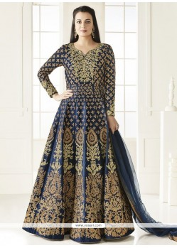 Diya Mirza Embroidered Work Navy Blue Floor Length Anarkali Suit