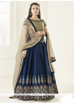 Diya Mirza Navy Blue Tafeta Silk Floor Length Anarkali Suit