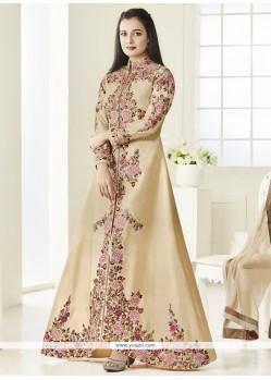 Diya Mirza Beige Floor Length Anarkali Suit
