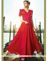 Satin Silk Red Embroidered Work Readymade Gown
