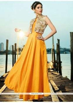 Yellow Satin Silk Readymade Gown