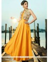 Yellow Satin Silk Readymade Gown