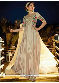 Cream Satin Silk Embroidered Work Readymade Gown