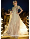Cream Satin Silk Embroidered Work Readymade Gown