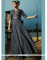 Grey Satin Silk Resham Work Readymade Gown