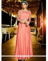 Pink Satin Silk Resham Work Readymade Gown