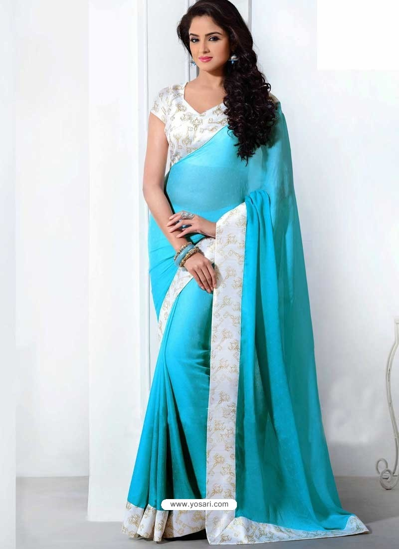 Buy White And Sky Blue Crepe Silk Saree Sari Indian Saree