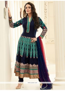 Preity Zinta Blue Faux Georgette Anarkali Salwar Suit