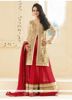 Preity Zinta Beige And Red Faux Georgette Anarkali Suit