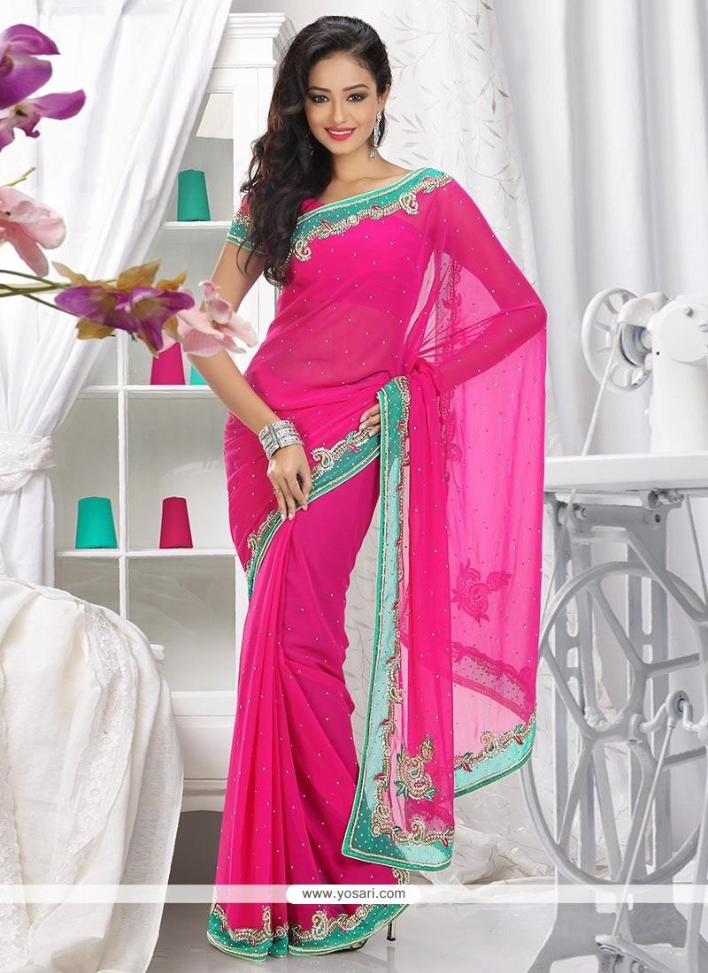 Flawless Pink Shade Faux Chiffon Saree