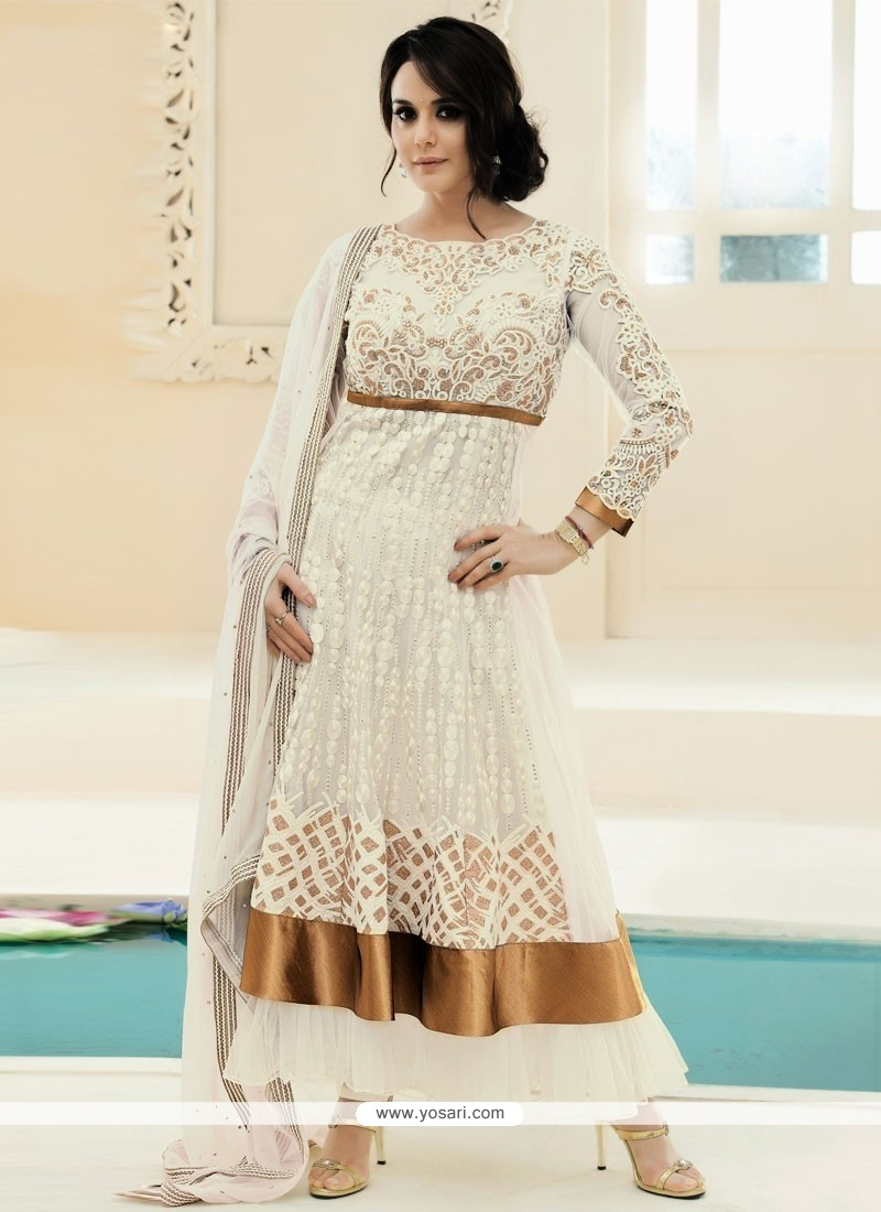 Off White Net Designer Anarkali Suit