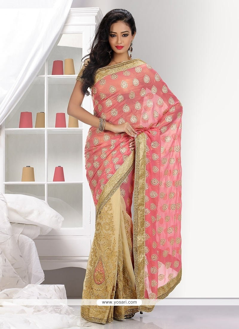 Excellent Beige And Pink Faux Shimmer And Net Half N Half Saree
