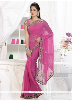 Appealing Pink Faux Chiffon Saree
