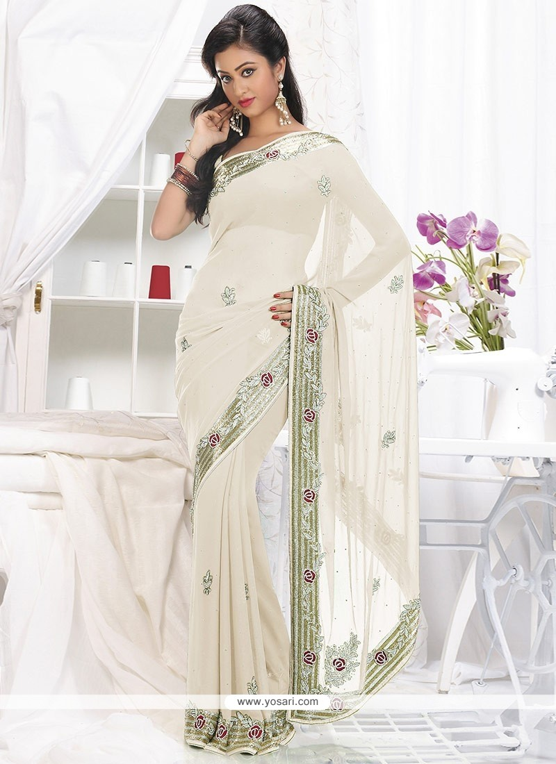 Desirable Off White Faux Georgette Saree