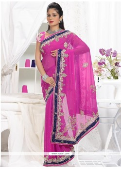 Decent Pink Faux Chiffon Saree