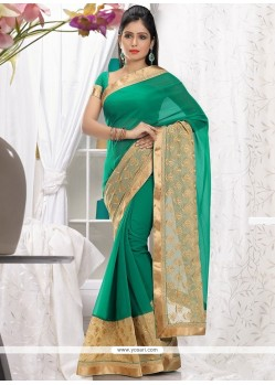 Lovely Beige And Green Faux Chiffon Saree
