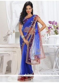 Fabulose Blue Net Saree