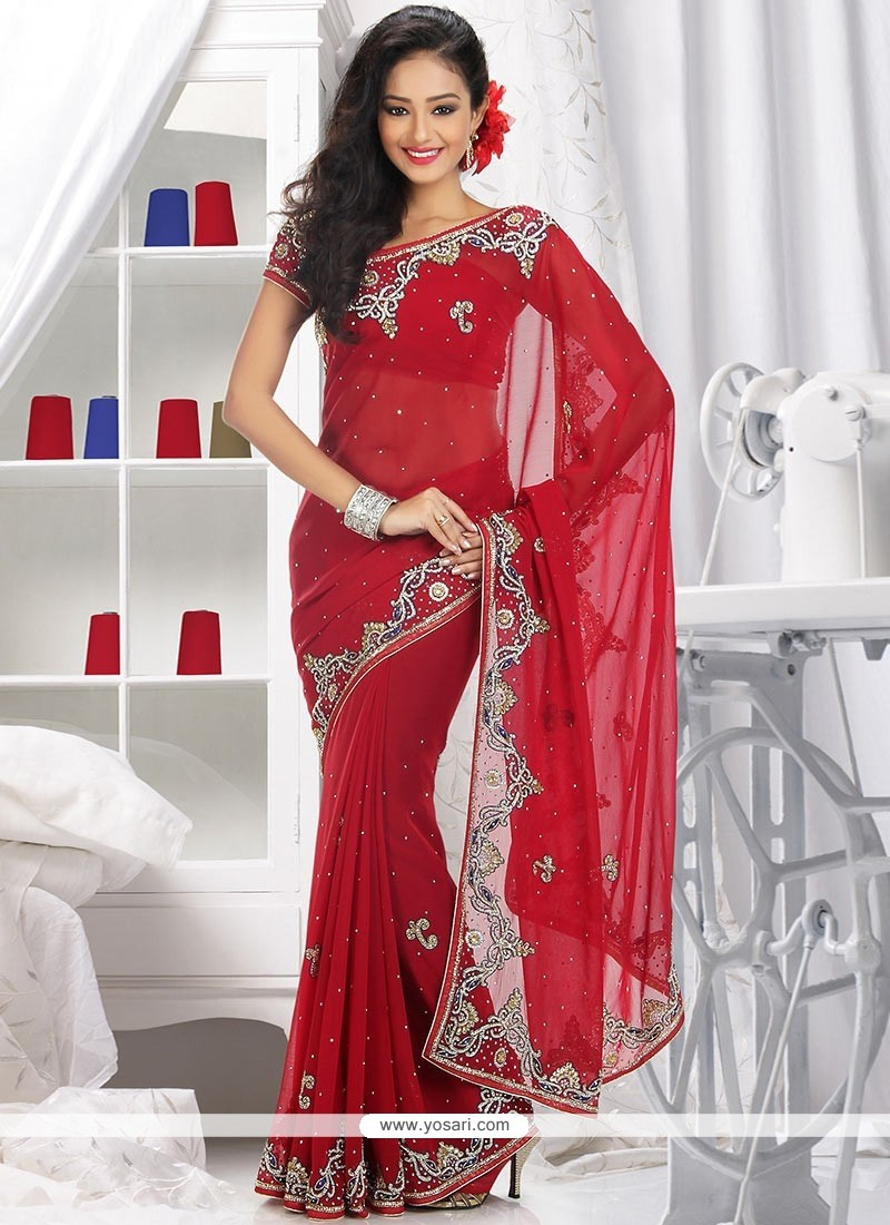 Jaaz Red Faux Georgette Saree