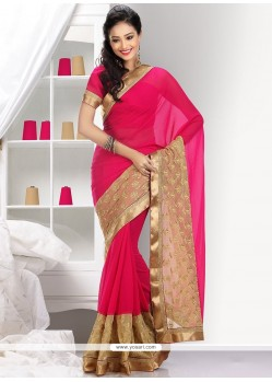 Dazzling Beige And Pink Faux Chiffon Saree