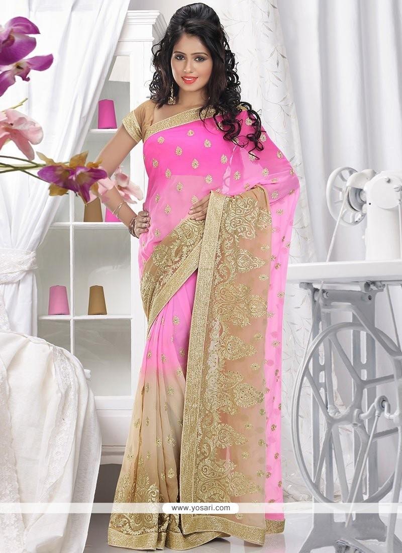 Charming Pink Faux Chiffon Saree
