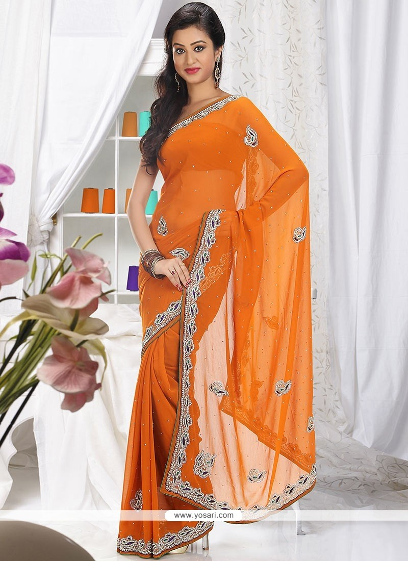 Fab Orange Shade Faux Chiffon Saree