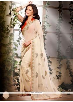 Off White Colour Georgette Designer Saree