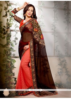 Jaaz Black And Orange Net Designer Saree