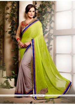 Superb Green Faux Chiffon Designer Saree