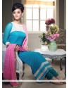 Lovely Turquoise Blue Georgette Printed Straight Suit