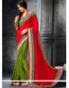Glowing Red And Green Georgette Designer Saree