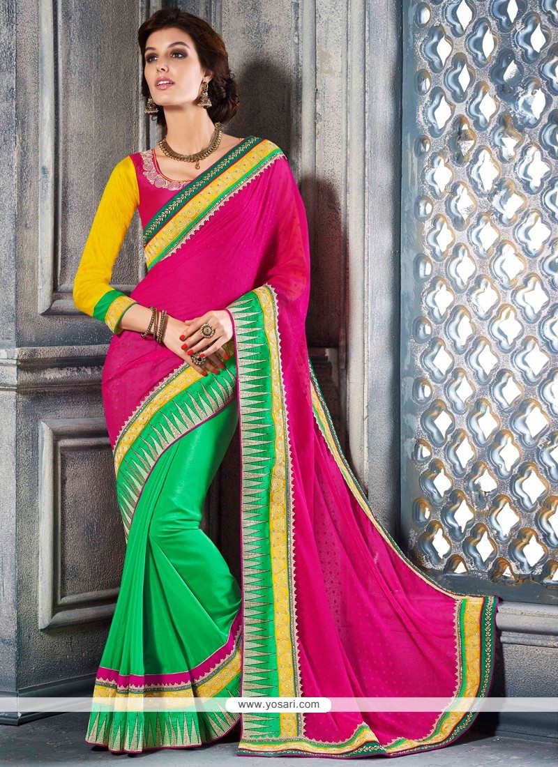 Imperial Pink And Green Satin Designer Saree