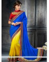Magical Blue And Yellow Satin Party Wear Saree