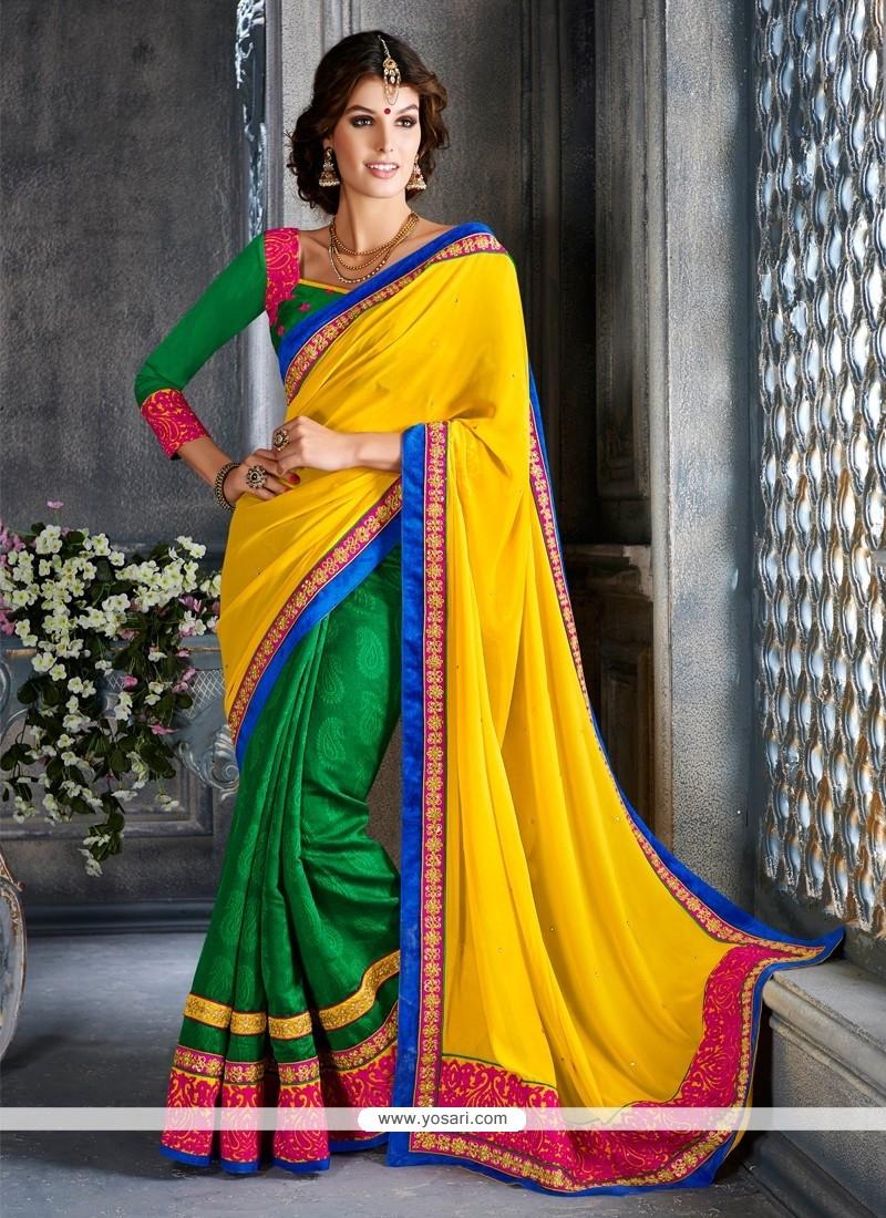 Radiant Green And Yellow Art Silk Designer Saree