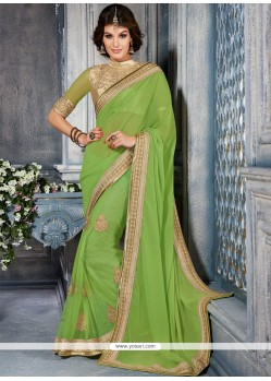 Phenomenal Green Georgette Casual Saree