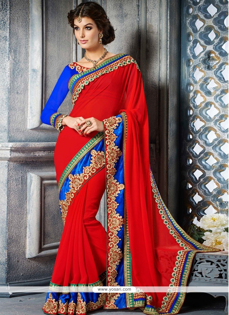 Observable Red Georgette Designer Saree