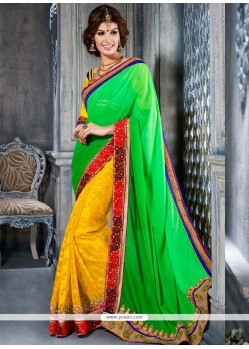 Green And Yellow Georgette Designer Saree